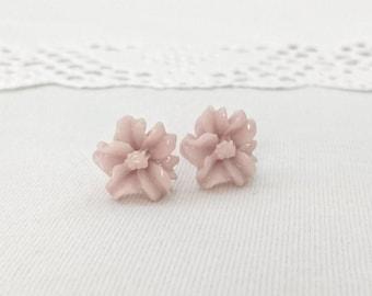 Neutral pinkish beige studs, resin flower earrings