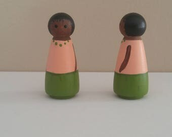Wooden peg dolls dark children