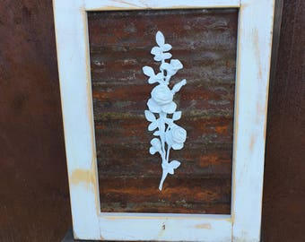 Framed Rusty Metal with Rose Appliqué
