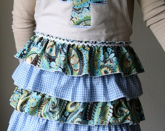 Ruffled Apron With Cross Applique