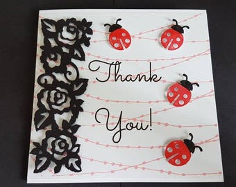 Thank you card - ladybird card - greeting card - handmade card - Birthday Card - Girl's birthday - Card for her