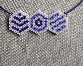 Hexagon Single Triple - Perler Mini Charm Necklace