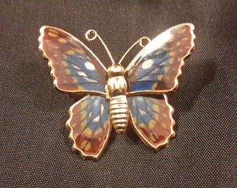 Vintage Gold Tone and Enamel Butterfly Brooch