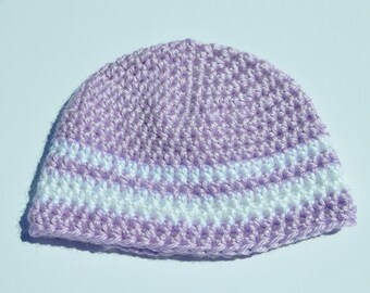 Purple and White Baby Hat/ Crochet Baby Hat/ Baby Girl Hat