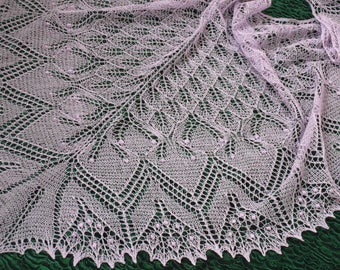 Lavender wedding shawl Bridal wrap Hand knitted lace shawl Triangular summer shawlette Large evening wrap Oversize merino shawl Gift for mom