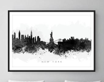 New York Skyline, NYC Cityscape, Art Print, Wall Art, Watercolor, Watercolour Art Decor [SWNYC05]