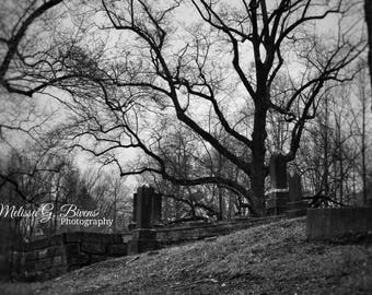 Cemetery in Ashland, Kentucky, black and white photography