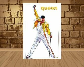 freddie mercury poster,freddie mercury print,freddie mercury poster art,queen poster,qeen print,queen art,Vintage wall Art, Freddie Mercury