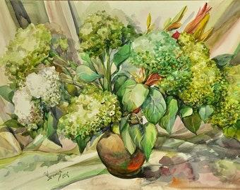 Floral Fine Art Watercolor Painting Hydrangea Flower Art - Original Watercolour Home Decor