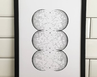 Geometric Circles 5, A3 Art Print, Hand Drawn, Original Art