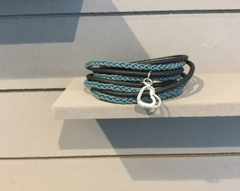Wrap leather bracelet with silver hearts