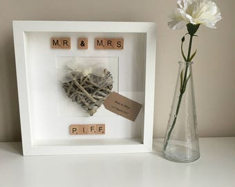 Handmade and Personalised Wedding heart frame