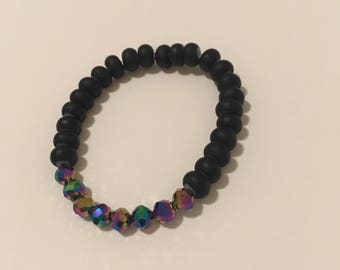 Matte black beads with small transulent beads