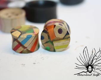 crayons Epoxy Tunnels Plugs Handmade Wooden Ear Plugs Gauges, make your own style and image, minimum order size 16 mm
