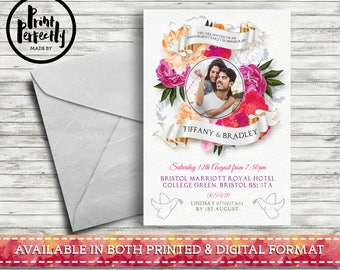 Bohemian Flower Photo Frame - Luxury Customised Engagement Party Invitations (Printed & Digital)
