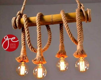 Bamboo wall lamp with rope