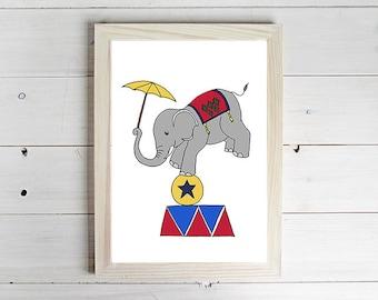 Circus Elephant - Unframed Art Print, Elephant Drawing, Nursery Picture, Animal Wall Art, Children's Decor, Kid's Bedroom.