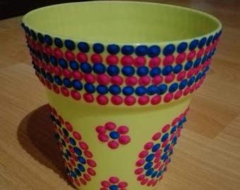 Yellow flower pot set Dotpainting