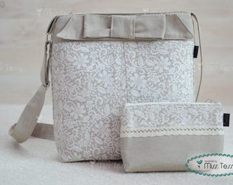 Tessy Bag set|  crossbody bag and zipper clutch with lace print| handbag with make -up bag