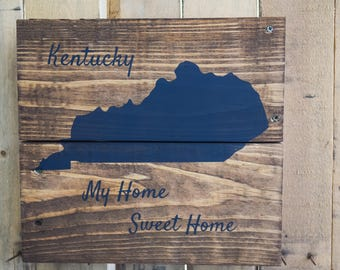Rustic Kentucky State Sign on reclaimed wood