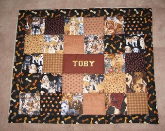 Custom Quilt with Pet's Name - Choose up to 4 fabrics