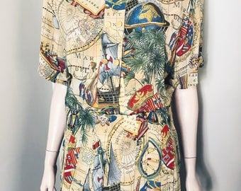 80s Janina Scheek Map Print Skirt Suit Size 18 / Cartography Print / Skirt Suit / Power Dressing