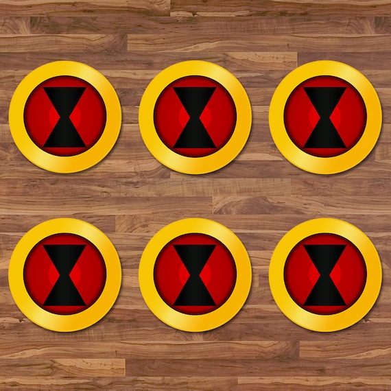 Black Widow Cupcake Toppers - Black Widow Stickers - Red & Yellow Logo - Black Widow 2 inch Round Stickers - Superhero Avengers Party