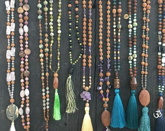 Natural stone, wood and seed mala necklaces