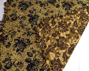 Flowers and Leopard Print Fleece Blanket