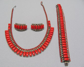 Red Rhinestone Three Piece Set.  Signed Lurel.