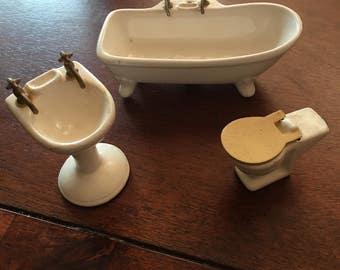 dollhouse bathtub sink and toilet ceramic