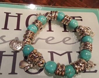 Aqua bead and charm bracelet