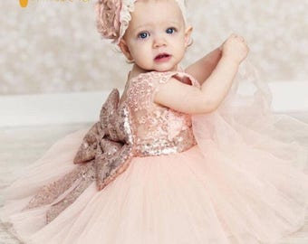 Baby pink dress, sequin dress, toddlee dress, special occasion, flower girl dress, easter dress, one of a kind