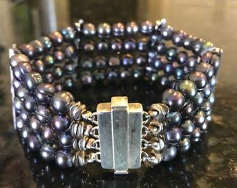 Blue Pear & Sterling  Silver Bracelet