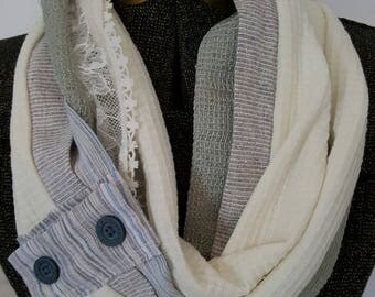 Sage green and winter white Women's Infinity All Daywear Scarf