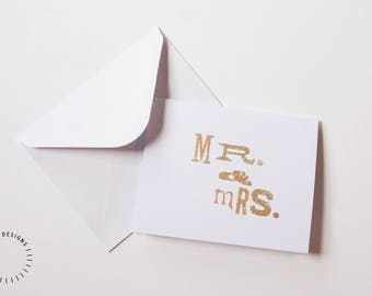 Handmade Letterpress Mr & Mrs Greeting Card, Gold Foil Letterpress Greeting Card, Blank Gold Foil Greeting Card, Wedding Greeting Card
