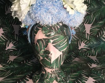 Baby Blue Pom Pom & White Flower Festival Headpiece