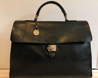Dooney & Bourke Leather Black Satchel Bag // Briefcase Bag // Top Handle Bag