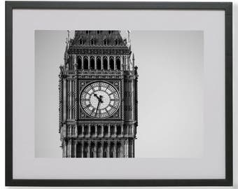 Big Ben Photography, London, Black and White, Wall Art, Printable, Digital Download, Home Decor, Office Decor