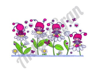 Flowers & Ladybugs - Machine Embroidery Design