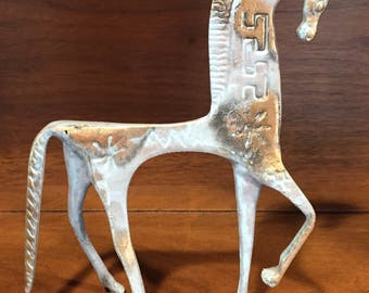 Mid-Century Etruscan Brass Horse Sculpture in the style of Frederick Weinberg