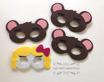 SET OF 4 Goldilocks and Three Bears Masks,  Goldilocks and the Three Bears, Goldie and Bear Party, Goldie and Bear Party Favors, Three Bears