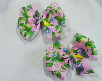 Pink and Green Floral Baby Bow Pair