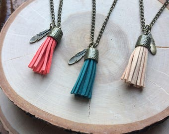 Cord Tassel Charm Necklace