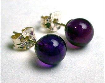 Amethyst 5mm Round Studs Earrings - Sterling Silver