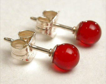 Carnelian 4mm Round Studs Earrings - Sterling Silver