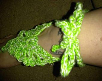Handmade crochet barefoot sandal