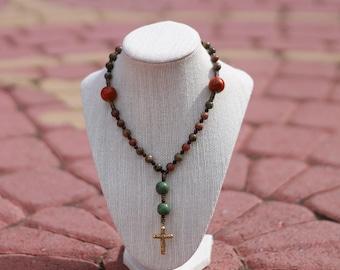Anglican Prayer Beads + Green/Orange