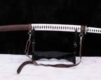 Katana with black and white handmade sheath, hilt with leather scabbard and leather shoulder bag