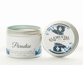 Beautiful hand poured natural soy wax candle. Fragrance: Paradise